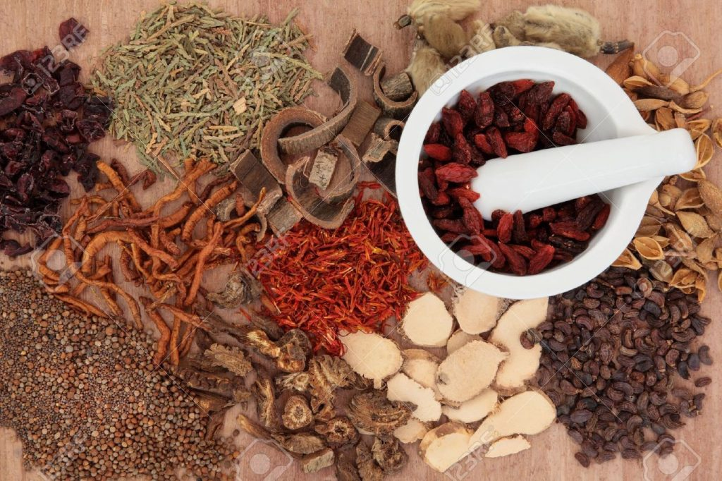 17588069-Traditional-chinese-herbal-medicine-selection-with-mortar-and-pestle-over-papyrus-background--Stock-Photo