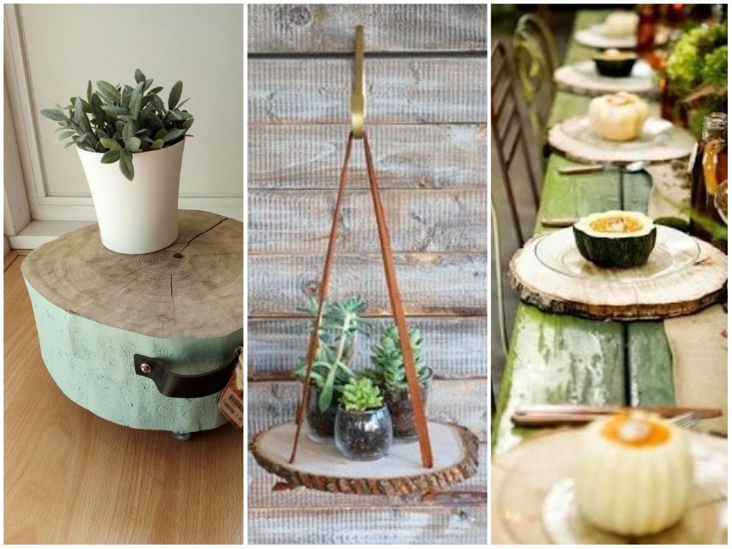 7 ideias para utilizar rodelas de troncos de árvores na sua casa