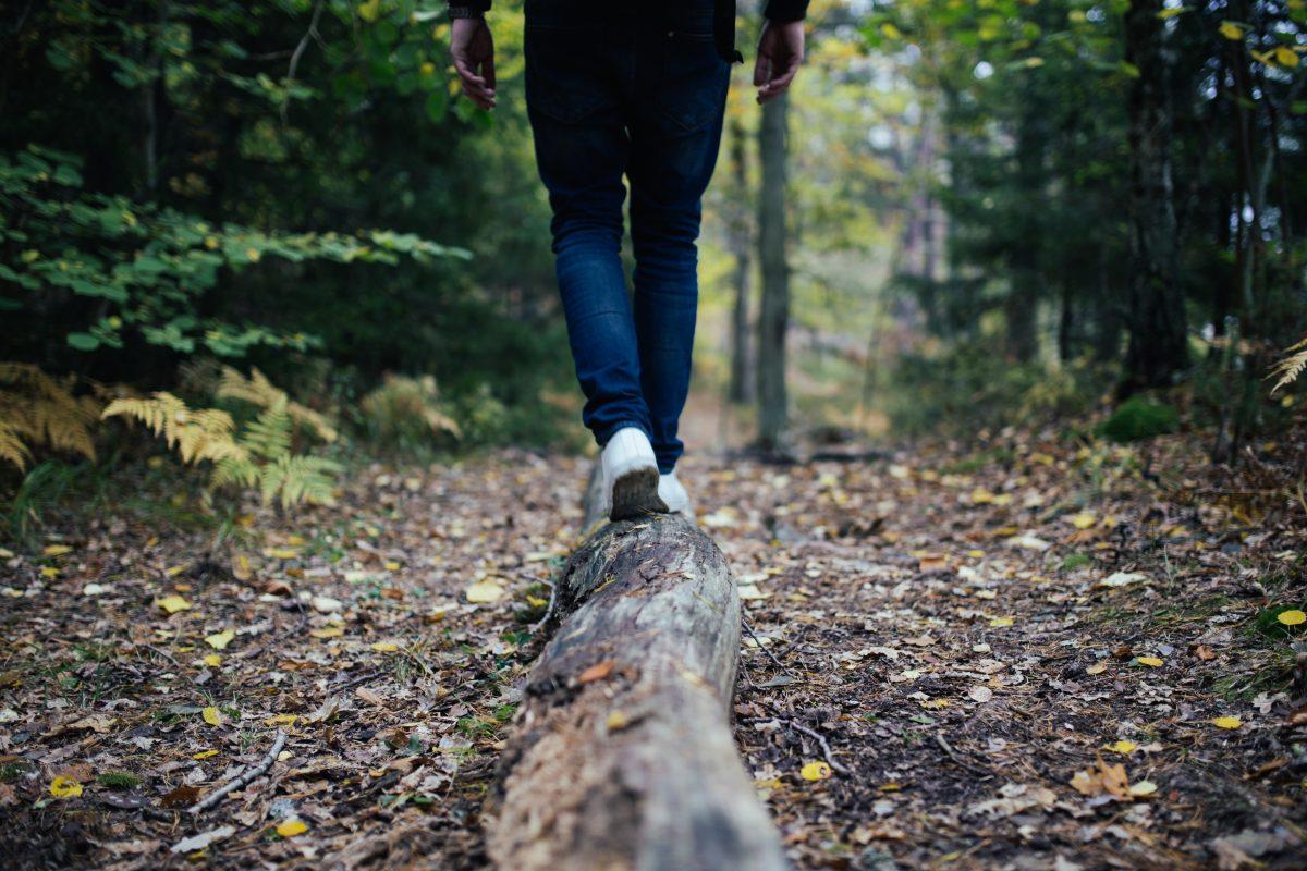 Rapaz em um banho de floresta caminhando sobre um tronco de árvore