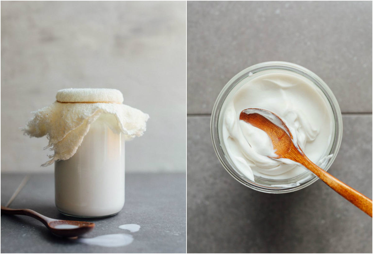 Iogurte de coco fermentado com kefir